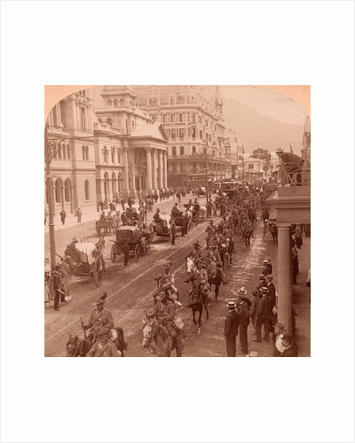 South African Light Horse coming down Adderly Street, to entrain for the front, Cape Town, South Africa. Vintage photography 1900 by Anonymous