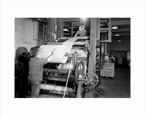 Mt. Holyoke, Massachusetts - Paper. American Writing Paper Co. Super-calender - putting on roll, starting operation, 1936 by Lewis Hine
