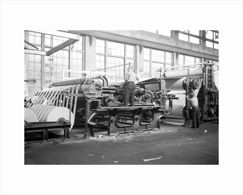 Mt. Holyoke, Massachusetts - Paper. American Writing Paper Co. Cylinder machine (making matchboard), 1936 by Lewis Hine