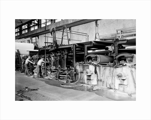 Mt. Holyoke, Massachusetts - Paper. American Writing Paper Co. Cyliner machine (making matchboard), 1936 by Lewis Hine