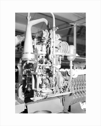 Manchester, New Hampshire - Textiles. Pacific Mills. Barber-Colman Automatic Spooler. (side view) Tying machine close up, April 1937 by Lewis Hine