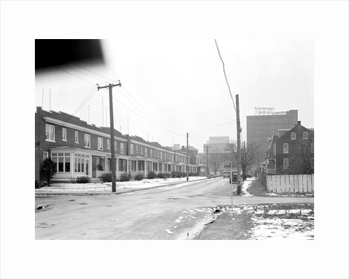 Lancaster, Pennsylvania - Housing. Homes of linoleum workers near plant (plant in distance) - rental $22.00 - $25.00, 1936 by Lewis Hine