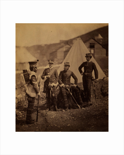 Group of the 71st Regiment with colour sergeant, Crimean War by Roger Fenton