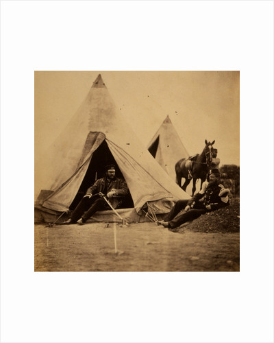 Officer of the 57th Regiment sitting with a sword across his lap at opening to his tent by Roger Fenton