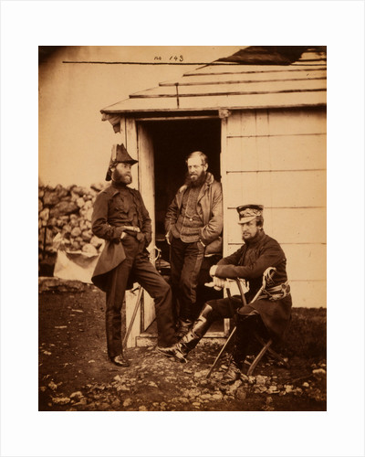 Captain Ponsonby, Captain Pearson & Captain Markham, on the staff of Sir George Brown, Crimean War by Roger Fenton