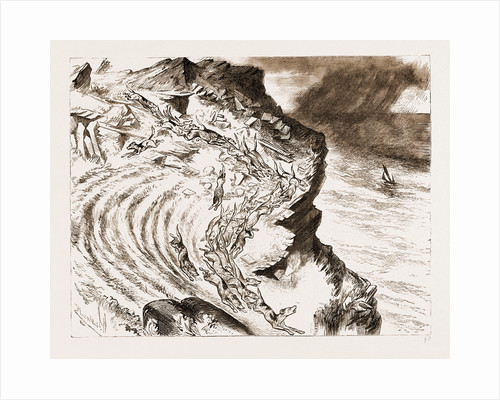 A Cornish Fox Hunt: A Run Down The Cliff: A Sketch From Tintagel, UK by Anonymous