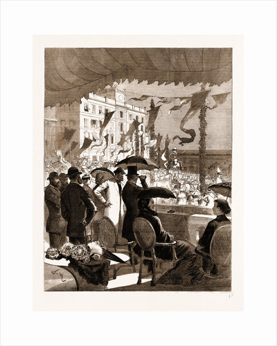 Mr. And Mrs. Gladstone Witnessing The Carnival Procession At Nice From The Balcony Of The Prefecture, 1883 by Anonymous