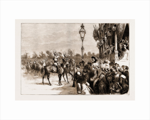 The Visit Of The Crown Prince Of Germany To Spain: The Crown Prince Saluting The Ladies Of The Royal Family At The Military Review, Madrid, Nov. 24, 1883 by Anonymous