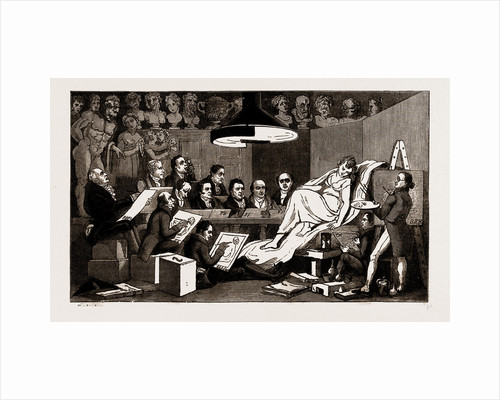 R.A.'s Of Genius, Life School At The Royal Academy, 1824, UK, 1886; Rowlandson, Sir Benjamin West, Sir Thomas Lawrence, Sir M.a. Shee by Anonymous