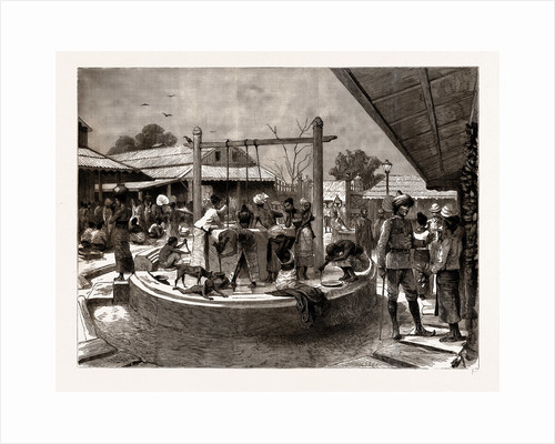 The Manners And Customs Of The Burmans: A Wash And Brush Up In The Market Place, Mandalay, 1886 by Anonymous