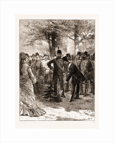 The Prince Of Wales's Garden Party At Chiswick, The Shah Planting A Tree In Commemoration Of His Visit by Anonymous