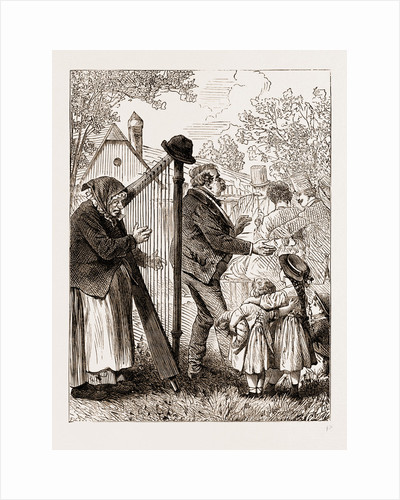 A Harpist, Vienna Engraving 1873 by Anonymous
