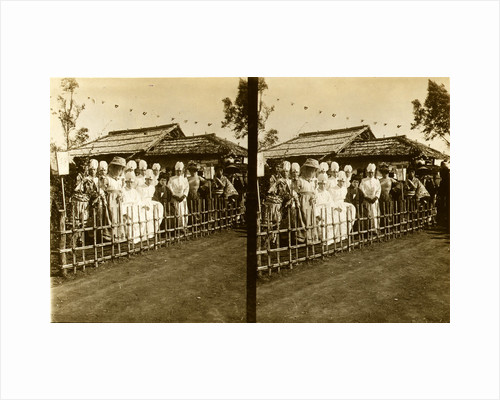 Group portrait of Japanese medical personnel and others dressed in Western and traditional style clothing seated near a building over which hang small flags by Anonymous