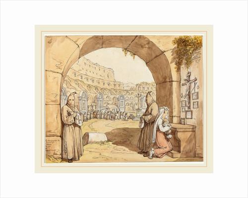 La Compagnia dei sacconi al Colosseo, 1829 by Bartolomeo Pinelli
