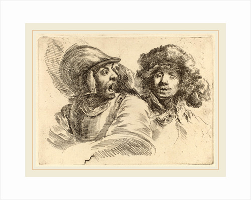 Frightened Soldier and Man with Fur Cap by Stefano Della Bella