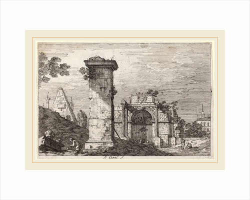 Landscape with Ruined Monuments by Canaletto
