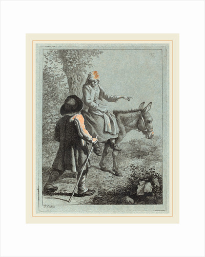 Peasant Woman Seated on a Donkey and a Peasant Man by Francesco Londonio
