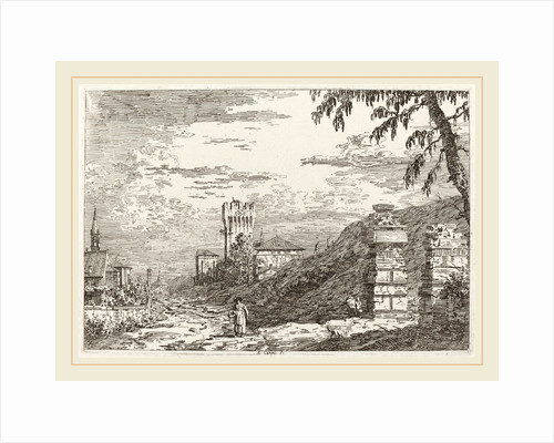 Landscape with Tower and Two Ruined Pillars left by Canaletto