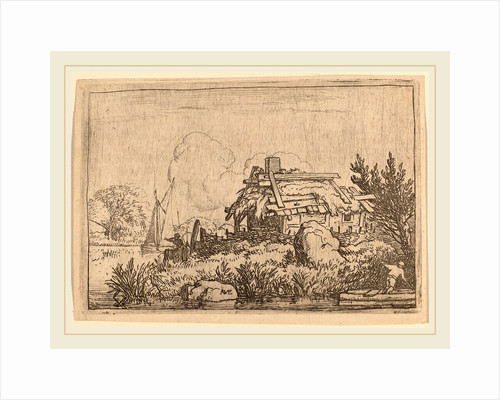 Ruined Cottage, Surrounded by Water by Allart van Everdingen