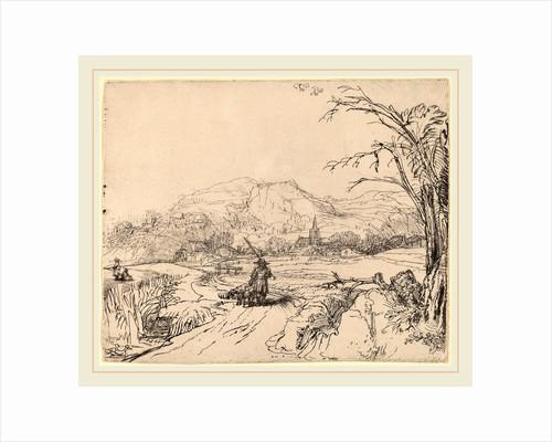 Landscape with Sportsman and Dog, c. 1653 by Rembrandt van Rijn