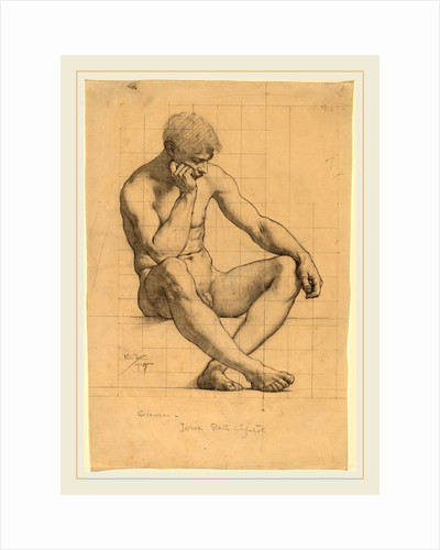 Seated Male Nude: Study for Science-Iowa State Capitol by Kenyon Cox