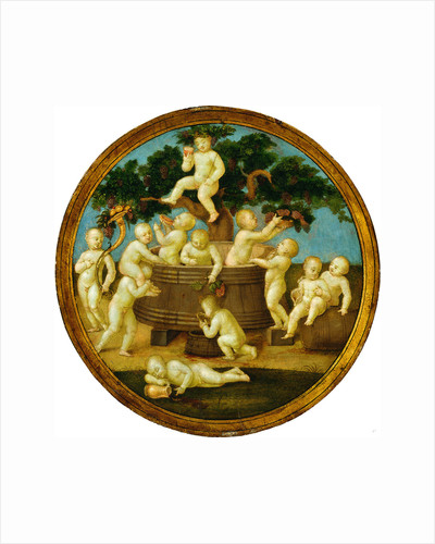 Putti with a Wine Press, c. 1500 by Follower of Raphael