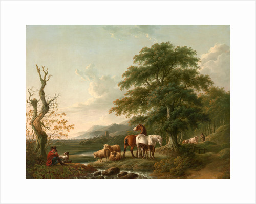 Landscape with a Shepherd Horses,Sheep and Cattle in a Romantic Landscape by Charles Towne