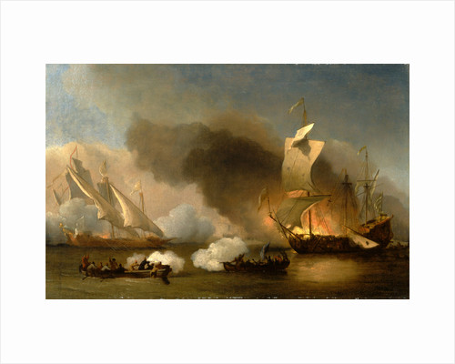 An Action off the Barbary Coast with Galleys and English Ships by William van de Velde the Younger