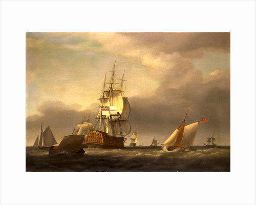 A Seascape with Men-of-War and Small Craft by Francis Holman
