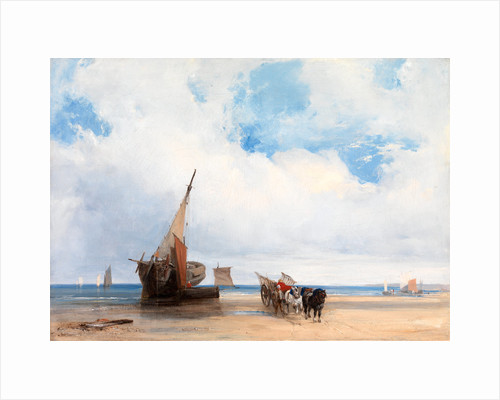 Beached Vessels and a Wagon, near Trouville, France by Richard Parkes Bonington