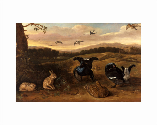 Black Game, Rabbits, and Swallows in a Park Black Game, Rabbits and Swallows in the Park of a Country House by Leonard Knyff