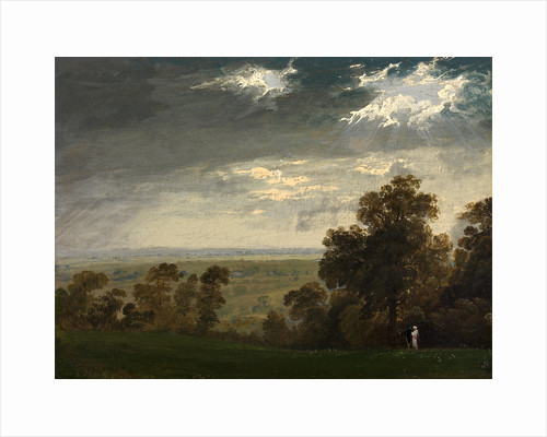 Landscape, Possibly the Isle of Wight or Richmond Hill Two figures in a landscape (possibly the Isle of Wight, or Richmond Hill) by John Martin