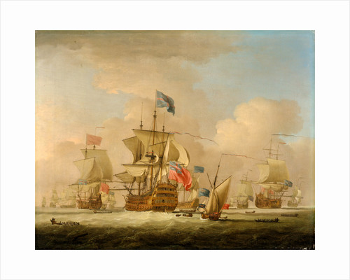 British Men-of-War and a Sloop by Peter Monamy