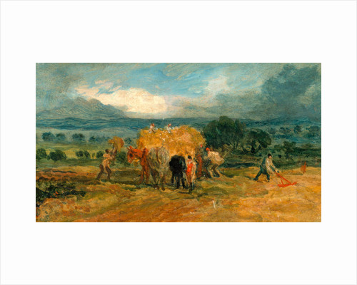 A Harvest Scene with Workers Loading Hay on to a Farm Wagon by James Ward