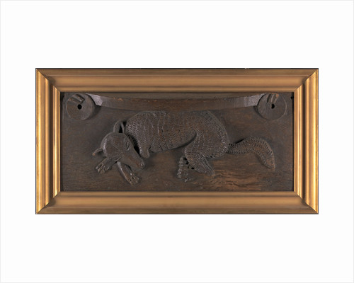 Carved wood misericord of a Sleeping Fox, possibly from Dunblane Cathedral, Perthshire, Scotland by Anonymous