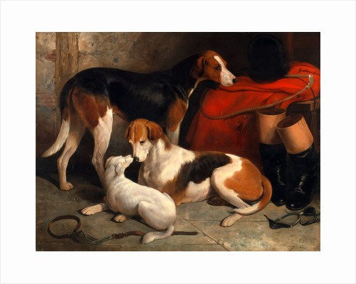 A Couple of Foxhounds with a Terrier by William Barraud
