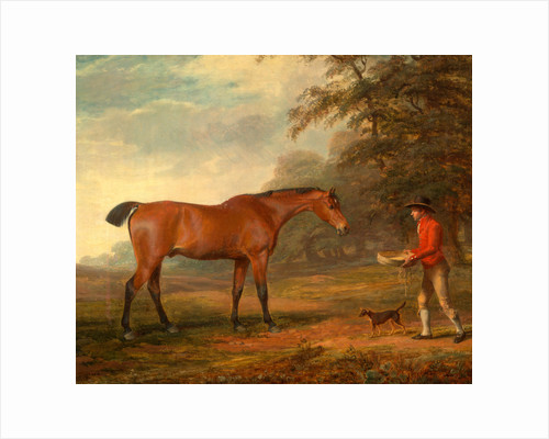 A Bay Horse Approached by a Stable-Lad with Food and a Halter by George Garrard