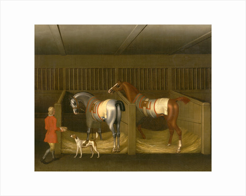 The Stables and Two Famous Running Horses belonging to His Grace, the Duke of Bolton Two Horses in a Stable with a Groom Two Horses and a Groom in a Stable by James Seymour