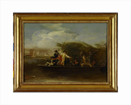 Gentlemen Fishing The Fishing Party - a Party of Gentlemen fishing from a Punt by Benjamin West