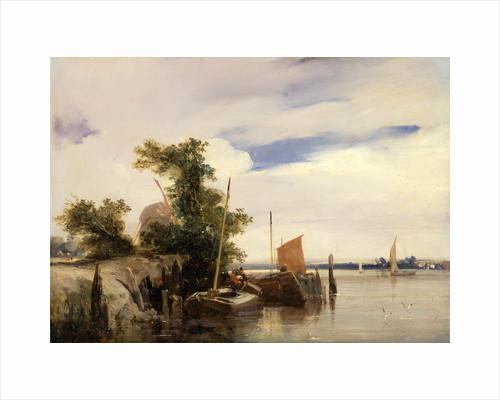 Barges on a River River Landscape by Richard Parkes Bonington