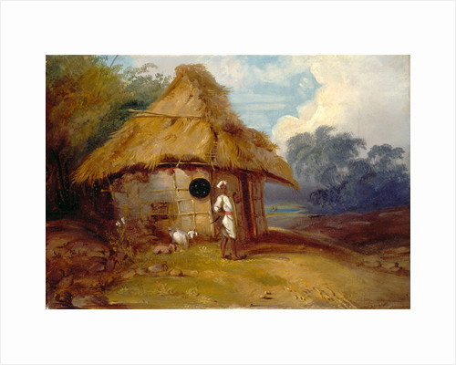 View in Southern India, with a Warrior Outside His Hut by George Chinnery
