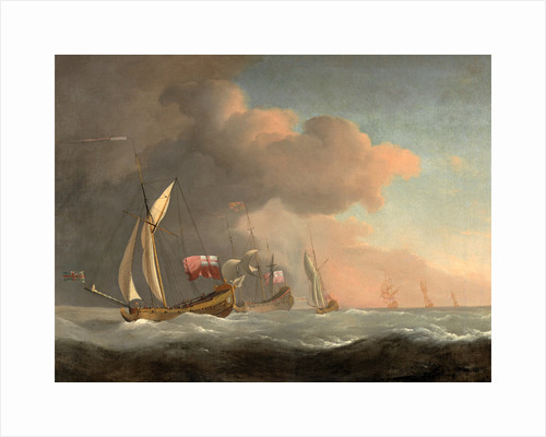 English Royal Yachts at Sea in a Strong Breeze, in Company with a Ship Flying the Royal Standard by Studio of William van de Velde the Younger
