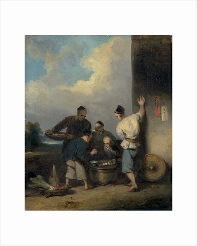 Coolies Round the Food Vendor's Stall by George Chinnery