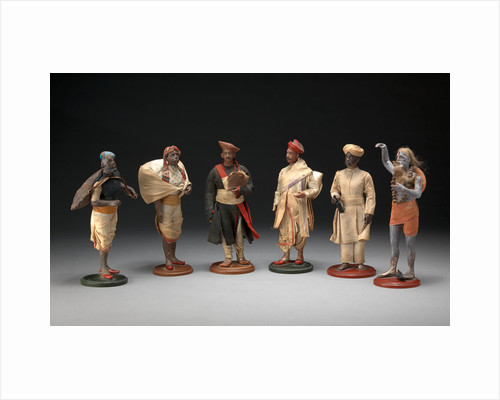 Indian Trades and Occupations A Group of Six Bengali Plaster Figures by Anonymous
