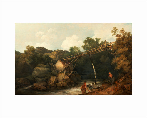 A View near Matlock, Derbyshire with Figures Working beneath a Wooden Conveyor by Philippe-Jacques de Loutherbourg