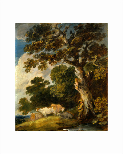 A Wooded Landscape with Cattle and Herdsman by Gainsborough Dupont