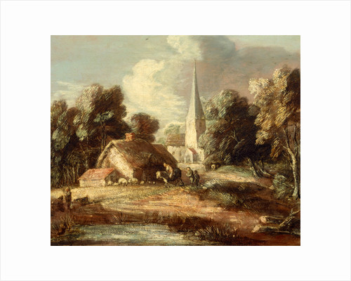 Landscape with cottage and church Landscape with a Church, Cottage, Villagers and Animals by Thomas Gainsborough