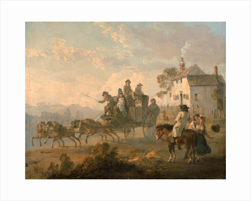 A Stage Coach on a Country Road The Departure of a Coach by Julius Caesar Ibbetson