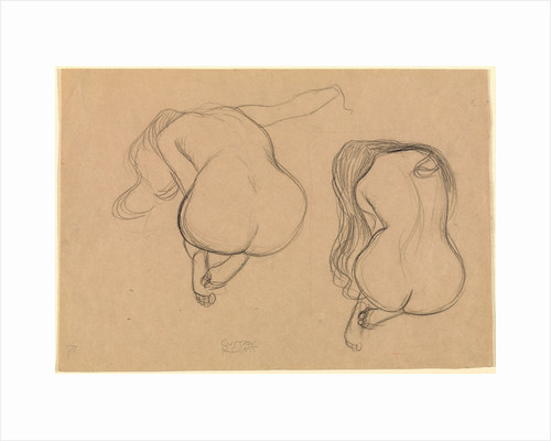 Two Studies of a Seated Nude with Long Hair by Gustav Klimt