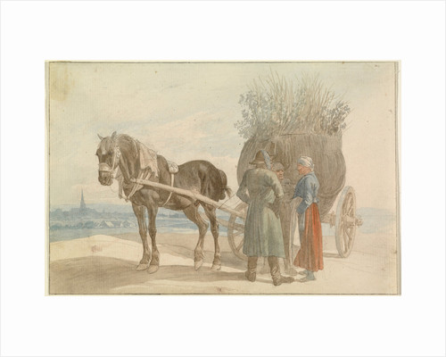 Austrian Peasants with a Horse and Cart, with a View of Vienna in the Distance by Johann Adam Klein